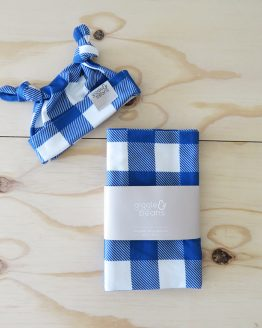 Classic Blue Gingham Double Knot Beanie and Swaddle Set