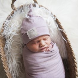 Desert Rose Swaddle Blanket & Top Knot Beanie Set