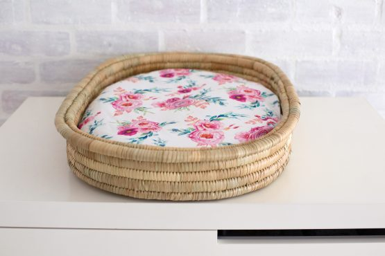 Peony Blooms Dual Fitted Bassinet & Change Mat Cover