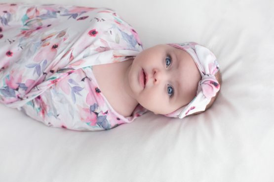 Wildflower Swaddle Blanket and Headwrap Set