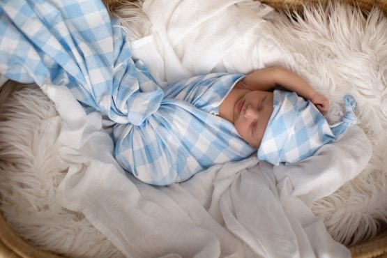 'Brushed Denim Gingham' Swaddle Blanket & Top Knot Beanie Set