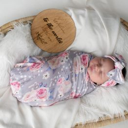 'Vintage Rose' Swaddle Blanket & Headwrap Set