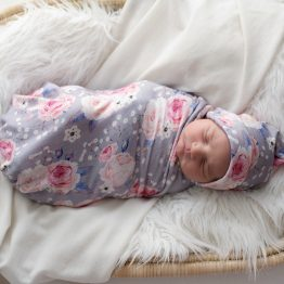 'Vintage Rose' Swaddle Blanket & Top Knot Beanie Set