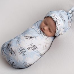 'Time Flies' Vintage Airplanes Swaddle Blanket & Top Knot Beanie Set
