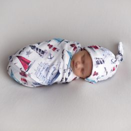 'Sail Away' Swaddle Blanket & Newborn Top Knot Beanie Set