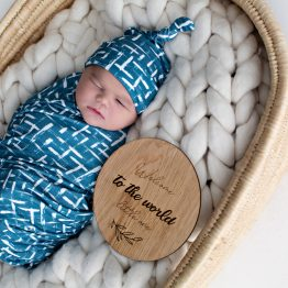 'Brushed Teal' Swaddle Blanket & Top Knot Beanie Set
