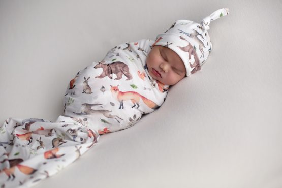 Forever Wild Woodlands Swaddle Blanket & Top Knot Beanie Set