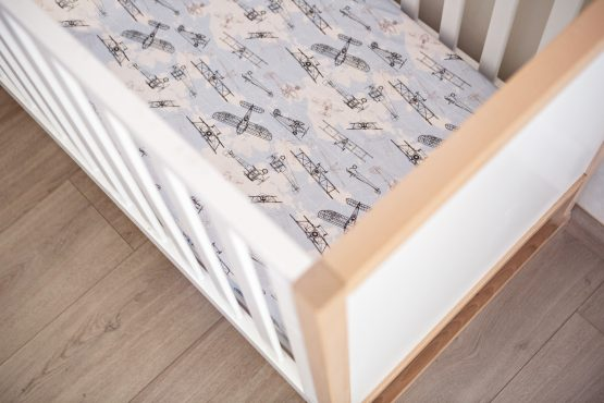 Time Flies Vintage Planes Fitted Cot Sheet