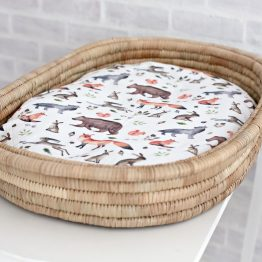Forever Wild Woodlands Fitted Bassinet & Change Mat Cover