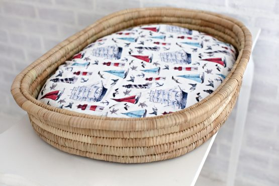 Sailaway Nautical Fitted Bassinet & Change Mat Cover