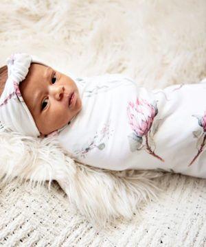 Heritage Protea Swaddle Blanket & Rose Knot Headband Set