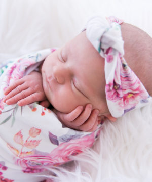 Peony Blooms Swaddle Blanket & Rose Knot Headband Set