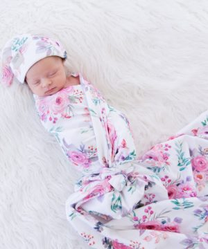 Peony Blooms Swaddle Blanket & Top Knot Beanie Set