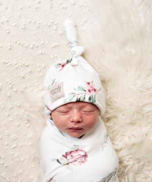 Heritage Protea Swaddle Blanket & Top Knot Beanie Set