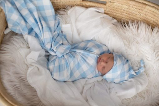 'Brushed Denim Gingham' Swaddle Blanket & Top Knot Beanie Set