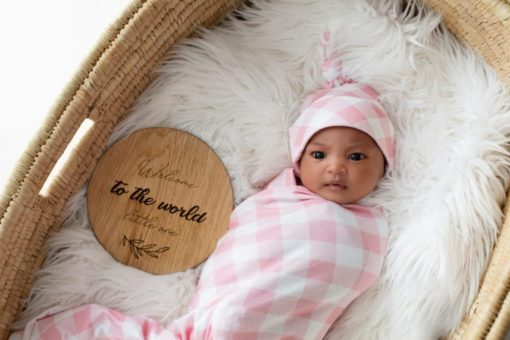 'Rose Quartz Gingham' Swaddle Blanket & Newborn Top Knot Beanie Set