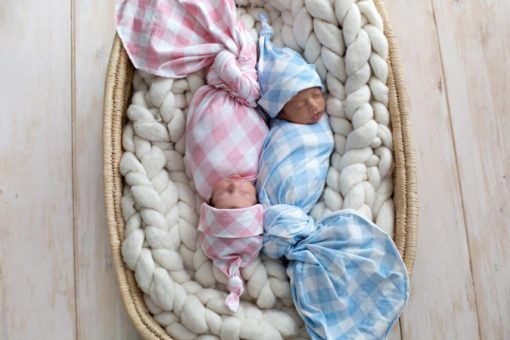 'Brushed Denim & Rose Quartz Gingham' Swaddle Blanket