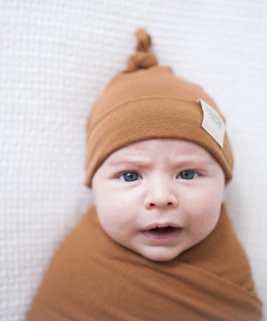 Cruise Rust Swaddle Blanket & Newborn Beanie Set