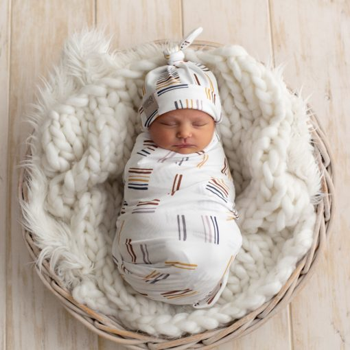 Dash Rainbow Swaddle & Top Knot Beanie Set