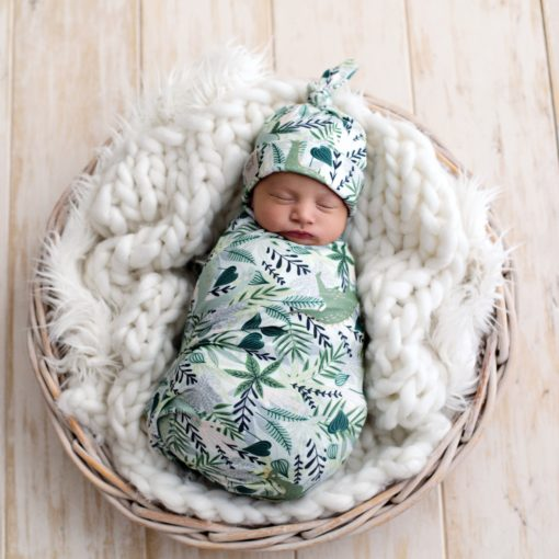Hide and Seek Dino Swaddle & Top Knot Beanie Set
