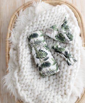 Rain Forest Swaddle & Top Knot Beanie Set
