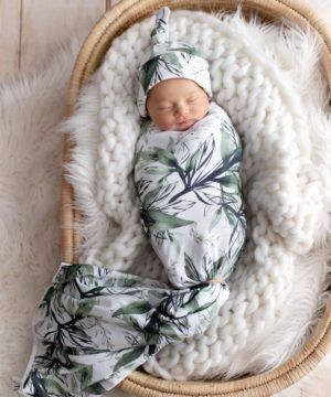 Forest Shadows Swaddle Blanket & Newborn Top Knot Beanie Set