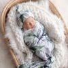 Forest Shadows Swaddle Blanket & Newborn Top Knot Beanie Set