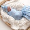Spring Tide Waves Swaddle Blanket & Newborn Top Knot Beanie Set