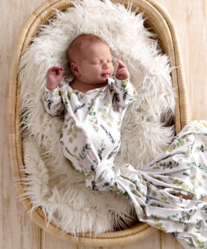 Enchanted Forest Eucalyptus Knotted Onesie Gown