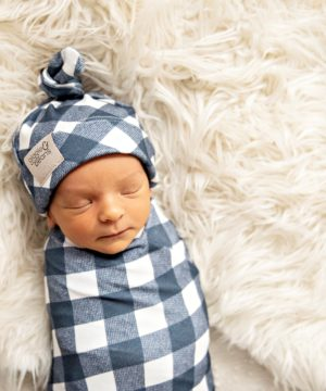 Trendsetter Navy Gingham Swaddle Blanket & Top Knot Beanie Set