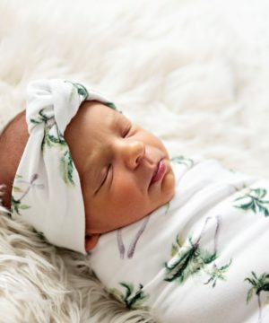 Coastal Palms Swaddle Blanket & Rose Knot Headband Set