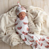 Sweet Dreams Rainbow Swaddle Blanket & Newborn Top Knot Beanie Set