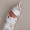 'Chasing Sunsets' Swaddle Blanket & Newborn Top Knot Beanie Set