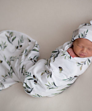 Olive Leaf Swaddle Blanket and Top Knot Beanie Set