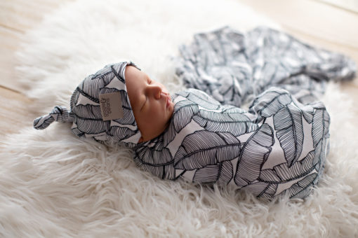 Tropical Banana Palm Swaddle Blanket and Top Knot Beanie Set