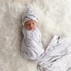Stardust Marble Swaddle Blanket & Newborn Top Knot Beanie Set