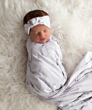 Stardust Marble Swaddle Blanket and Rose Knot Headband Set