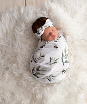 'Olive Leaf' Swaddle Blanket & Rose Knot Headband Set