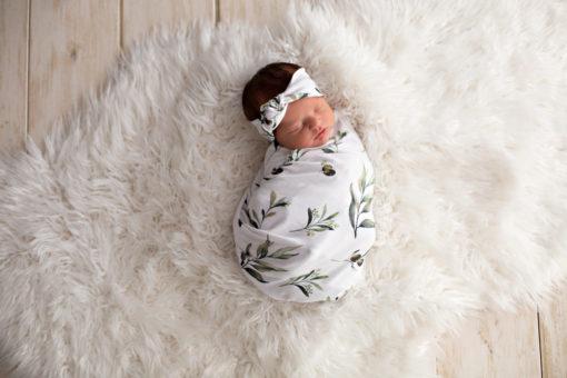 'Olive Leaf' Swaddle Blanket & Rose Knot Headband Set