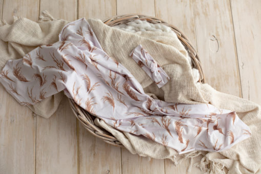 Daydream Pampas Swaddle Blanket and Headband Set