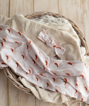 'Chasing Sunsets' Swaddle Blanket & Rose Knot Headband Set