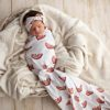 Sweet Dreams Rainbow Swaddle Blanket and Rose Knot Headband Set